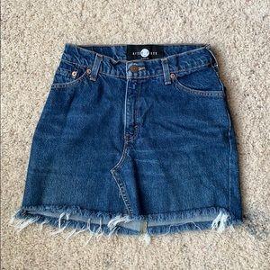Levi's high waisted raw hem mini skirt
